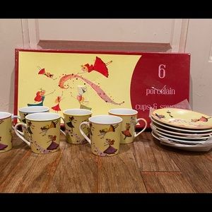 Whimsical fairy girls porcelain tea party set 6